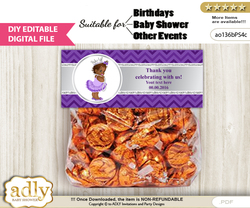 DIY Text Editable African Princess Goodie  Treat Bag Toppers, Favor Bag Digital File, print at home