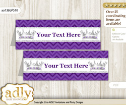 DIY Text Editable Printable African Princess Buffet Tags or Food Tent Labels  for a Baby Shower or Birthday , Purple Silver, Chevron