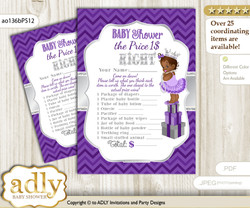 Printable African Princess Price is Right Game Card for Baby Princess Shower, Purple Silver, Chevron