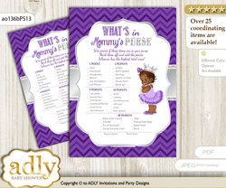 African Princess What is in Mommy's Purse, Baby Shower Purse Game Printable Card , Purple Silver,  Chevron