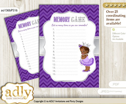 African Princess Memory Game Card for Baby Shower, Printable Guess Card, Purple Silver, Chevron