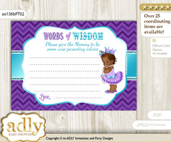 Purple Teal African Princess Words of Wisdom or an Advice Printable Card for Baby Shower, Chevron