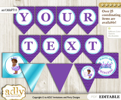 DIY Personalizable African Princess Printable Banner for Baby Shower, Purple Teal, Chevron