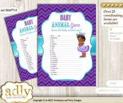 Printable African Princess Baby Animal Game, Guess Names of Baby Animals Printable for Baby Princess Shower, Purple Teal, Chevron