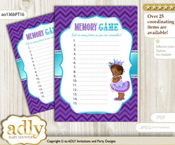 African Princess Memory Game Card for Baby Shower, Printable Guess Card, Purple Teal, Chevron