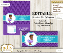 DIY Personalizable African Princess Chocolate Bar Candy Wrapper Label for African  baby shower, birthday Purple Teal , editable wrappers