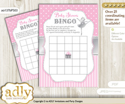 Printable Pink Silver Ballerina Bingo Game Printable Card for Baby Ballet Shower DIY grey, Pink Silver, Polka