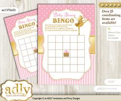 Printable Pink Gold Ballerina Bingo Game Printable Card for Baby Ballet Shower DIY grey, Pink Gold, Polka