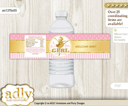 Ballet Ballerina Water Bottle Wrappers, Labels for a Ballerina  Baby Shower, Pink Gold, Polka