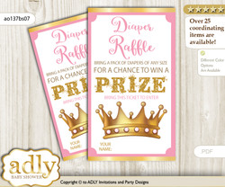 Ballet Ballerina Diaper Raffle Printable Tickets for Baby Shower, Pink Gold, Polka