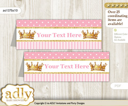 DIY Text Editable Printable Ballet Ballerina Buffet Tags or Food Tent Labels  for a Baby Shower or Birthday , Pink Gold, Polka