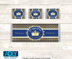 Crown  Prince  Chocolate Bar Wrapper and Nuggets Candy Wrapper Label for Baby  Crown Shower  Gold Blue  ,  Chevron