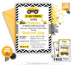 Construction, Truck Boy Baby Shower Invitation Template, Free diaper raffle -instant download