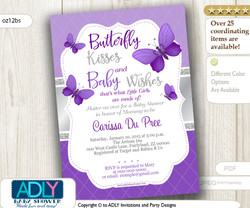 Purple and Silver Butterfly Invitation
