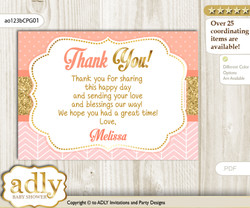 Baby Girl Thank you Printable Card with Name Personalization for Baby Shower or Birthday Party