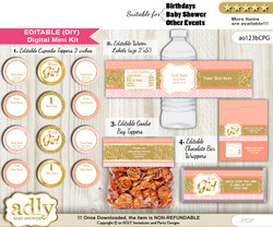 DIY Text Editable Baby Girl Baby Shower, Birthday digital package, kit-cupcake, goodie bag toppers, water labels, chocolate bar wrappers