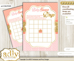 Printable Peach Pink Girl Bingo Game Printable Card for Baby Baby Shower DIY grey, Peach Pink, Glitter