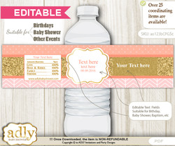 DIY Text Editable Baby Girl Water Bottle Label, Personalizable Wrapper Digital File, print at home for any event