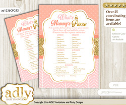 Baby Girl What is in Mommy's Purse, Baby Shower Purse Game Printable Card , Peach Pink,  Glitter