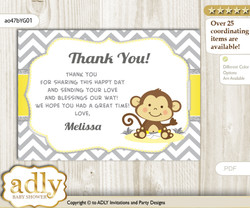 Boy Girl Monkey Thank you Printable Card with Name Personalization for Baby Shower or Birthday Party
