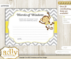 Yellow Grey Boy Girl Monkey Words of Wisdom or an Advice Printable Card for Baby Shower, Chevron