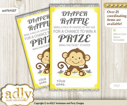 Boy Girl Monkey Diaper Raffle Printable Tickets for Baby Shower, Yellow Grey, Chevron