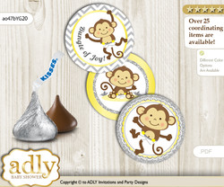Printable  Boy Girl Monkey Candy Kisses for Baby Boy Girl Shower DIY Yellow Grey , Chevron