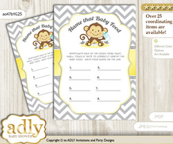 Boy Girl Monkey Guess Baby Food Game or Name That Baby Food Game for a Baby Shower, Yellow Grey Chevron