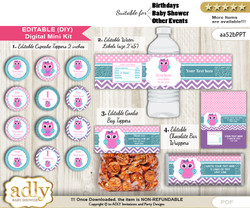 DIY Text Editable Girl Owl Baby Shower, Birthday digital package, kit-cupcake, goodie bag toppers, water labels, chocolate bar wrappers