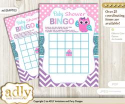 Printable Pink Teal Owl Bingo Game Printable Card for Baby Girl Shower DIY grey, Pink Teal, Purple
