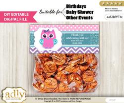 DIY Text Editable Girl Owl Goodie  Treat Bag Toppers, Favor Bag Digital File, print at home