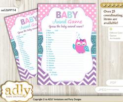 Printable Girl Owl Baby Animal Game, Guess Names of Baby Animals Printable for Baby Owl Shower, Pink Teal, Purple