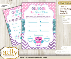 Girl Owl Dirty Diaper Game or Guess Sweet Mess Game for a Baby Shower Pink Teal, Purple