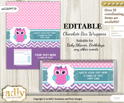 DIY Personalizable Girl Owl Chocolate Bar Candy Wrapper Label for Girl  baby shower, birthday Pink Teal , editable wrappers