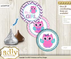 Printable  Girl Owl Candy Kisses for Baby Girl Shower DIY Pink Teal , Purple