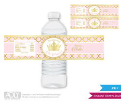 Princess Royal  Royal Water Bottle Wrappers, Labels for a  Royal   Baby Shower,  Gold Pink ,  Elegant