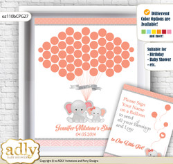 Peanut Elephant Guest Book Alternative for a Baby Shower, Creative Nursery Wall Art Gift, Peach Pink, Grey