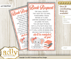 Request a Book Instead of a Card for Peanut Elephant Baby Shower or Birthday, Printable Book DIY Tickets, Grey, Peach Pink