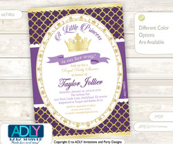 Dark Purple, Lavender and Gold Princess Invitation for Royal Baby Shower Theme, soft pink, golden crown, princess is on her way, royal shower