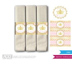 Printable  Princess Royal  Royal Napkin Ring Label or Napkin Holders for Baby Shower,  Gold Pink ,  Elegant