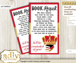 Request a Book Instead of a Card for Royal King Baby Shower or Birthday, Printable Book DIY Tickets, Crown, Red Gold