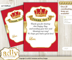 Royal  King Thank you Cards for a Baby Royal Shower or Birthday DIY Red Gold, Crown