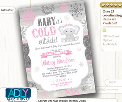 Baby Pink, Glitter Grey Elephant Snowflake Invitation for Winter Baby Shower