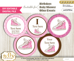 DIY Text Editable Girl Sneakers Cupcake Toppers Digital File, print at home, suitable for birthday, baby shower, baptism