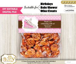 DIY Text Editable Girl Sneakers Goodie  Treat Bag Toppers, Favor Bag Digital File, print at home
