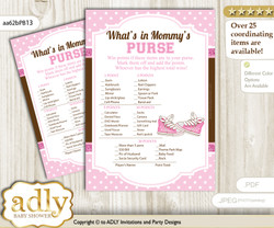 Girl Sneakers What is in Mommy's Purse, Baby Shower Purse Game Printable Card , Pink Brown,  STar