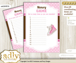 Girl Sneakers Memory Game Card for Baby Shower, Printable Guess Card, Pink Brown, STar