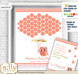 Girl Owl Guest Book Alternative for a Baby Shower, Creative Nursery Wall Art Gift, Coral Pink, Gold