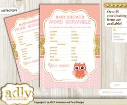 Girl Owl Word Scramble Game for Baby Shower nn
