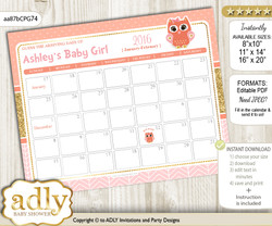 DIY Girl Owl Baby Due Date Calendar, guess baby arrival date game nn